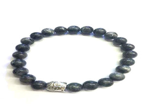 Black Labradorite Silver Buddha Beaded Bracelet 8Mm