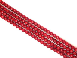 Bamboo Coral Red Round Beads 14Mm