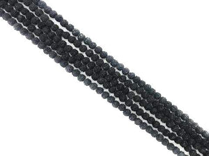Lava Stone Ab Black Round Beads 6Mm
