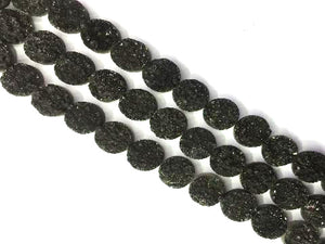 8 Inch Coated Agate Druzy Black Puff Coin 14Mm