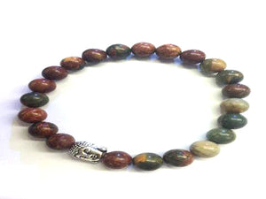 Red Creek Jasper Silver Buddha Beaded Bracelet 8Mm