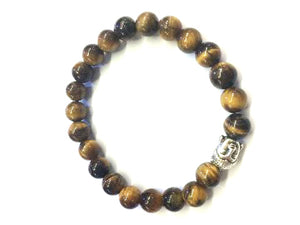 Tiger Eye Silver Buddha Beaded Bracelet 8Mm