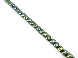 Hematite Green Faceted Square 10Mm