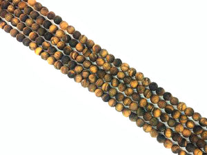 Matte Tiger Eye Round Beads 6Mm
