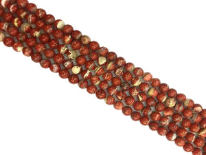 White Lace Red Jasper Round Beads 14Mm