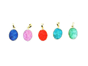Color Crystal Quartz Druzy Pendant 15X20Mm
