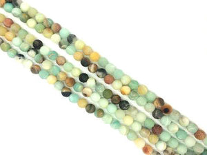 Matte Black Cloudy Amazonite Round Beads 4Mm
