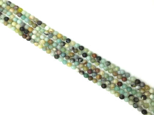Black Cloudy Amazonite Faceted Round Beads 14Mm