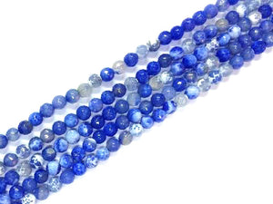 Color Blue Fire Agate Faceted Rounds 6Mm