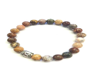 Rainbow Agate Silver Buddha Beaded Bracelet 8Mm