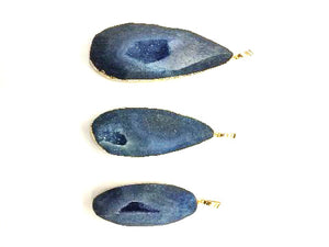 Matte Color Agate Blue Pendant 25X40-36X54Mm