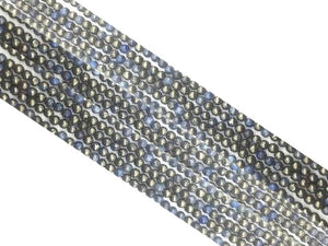 Silver Pyrite Blue Round Beads 4Mm
