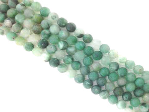 Matte African Green Calcedony Jade Round Beads 6Mm