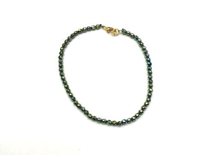 Hematite Green Faceted Rounds Bracelet 3Mm