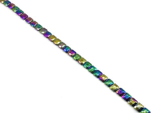 Hematite Rainbow Faceted Square 10Mm