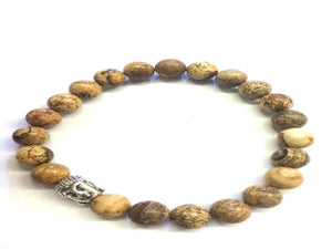 Picture Jasper Silver Buddha Beaded Bracelet 8Mm