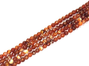 Color Red Fire Agate Faceted Rounds 6Mm