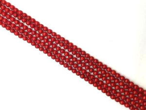 Bamboo Coral Red Round Beads 4Mm