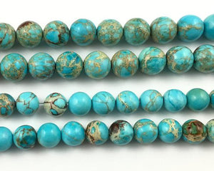Impression Jasper Blue  round beads 6mm