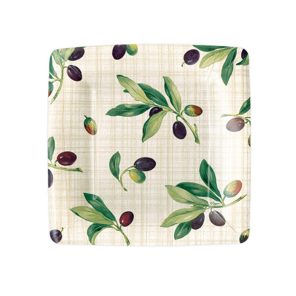 Caspari Olive Grove Square Paper Salad & Dessert Plates in Natural