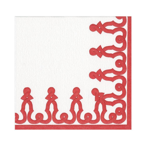 Caspari Dessin Passementerie Paper Linen Luncheon Napkins in Red - 15 Per Package