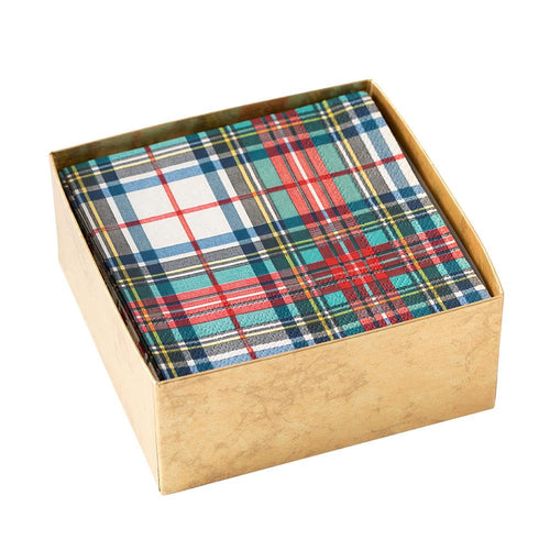 Caspari Dress Stewart Tartan Boxed Paper Cocktail Napkins - 40 Per Box