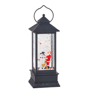 "11"" Santa and Snowman Lighted Water Latern"