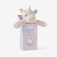 Load image into Gallery viewer, Elegant Baby Unicorn Snuggler Swirl Plush Security Blanket in Gift Box