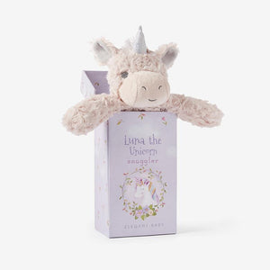 Elegant Baby Unicorn Snuggler Swirl Plush Security Blanket in Gift Box