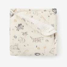 Load image into Gallery viewer, Elegant Baby Safari Print Organic Muslin Baby Security Blanket with Fur Back