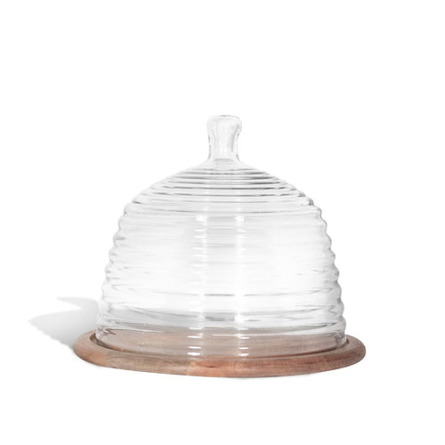 Montes Doggett Wood Base with Beehive Glass Cloche - Large