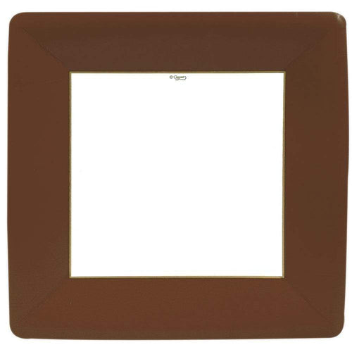 Caspari Grosgrain Square Paper Dinner Plates Brown - 8 Per Package
