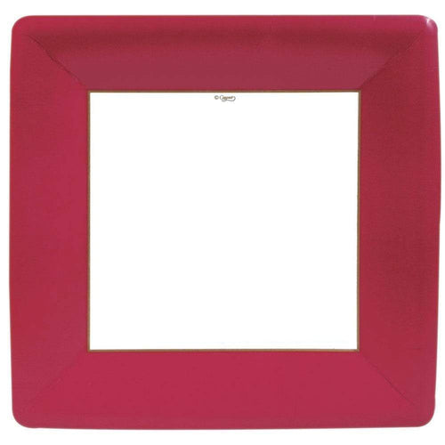 Caspari Grosgrain Square Paper Dinner Plates Red - 8 Per Package
