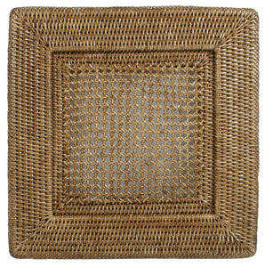 Rattan Square Plate Charger in Dark Natural