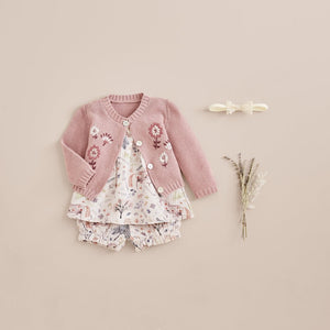 Elegant Baby 6 Month Floral Textured Knit Baby Cardigan