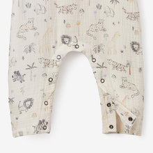 Load image into Gallery viewer, Elegant Baby 3 - 6 Month Safari Print Organic Muslin Baby Jumpsuit