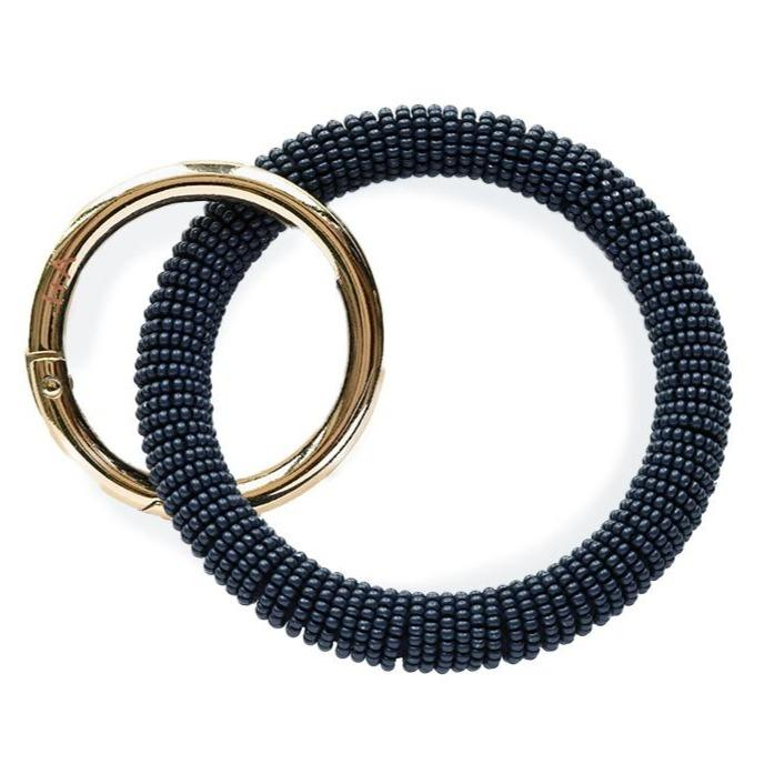 Ink + Alloy Navy Seed Bead Key Ring