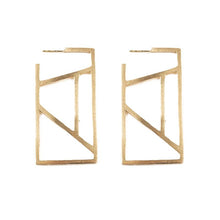 Load image into Gallery viewer, Ink + Alloy Stained Glass Rectangle Brass Earring
