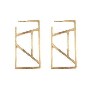 Ink + Alloy Stained Glass Rectangle Brass Earring