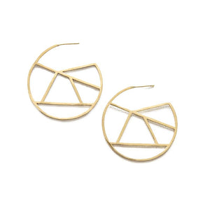 Ink + Alloy Large Stained Glass Circle Brass Earring