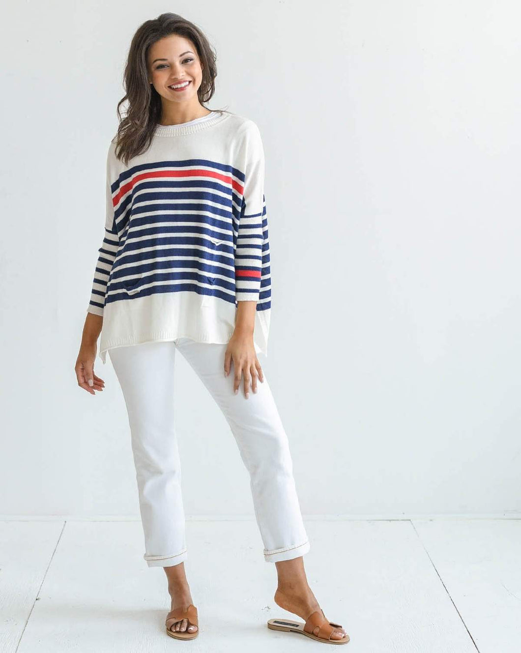 Mer|Sea The Catalina Sweater - Stripped Navy/Red