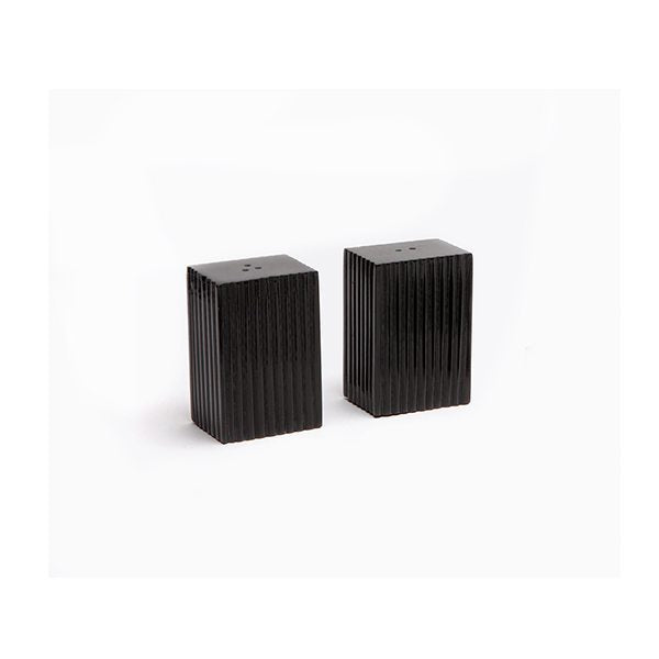 Elliott Black Large Salt & Pepper Shakers Horn Vertical Design Boxed, Set Of 2