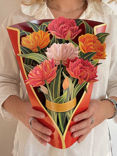 Cut Paper Murillo Tulips Pop Up Greeting Card