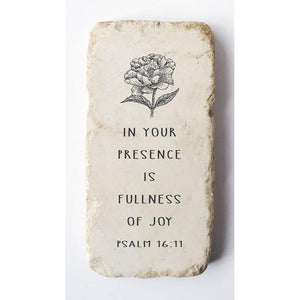 Twelve Stone Art Half Block (Peony - Psalm 16:11) Vertical