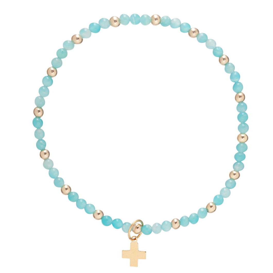 enewton Amazonite Sincerity Pattern 3mm Bead Bracelet - Gold - Signature Cross Gold Charm