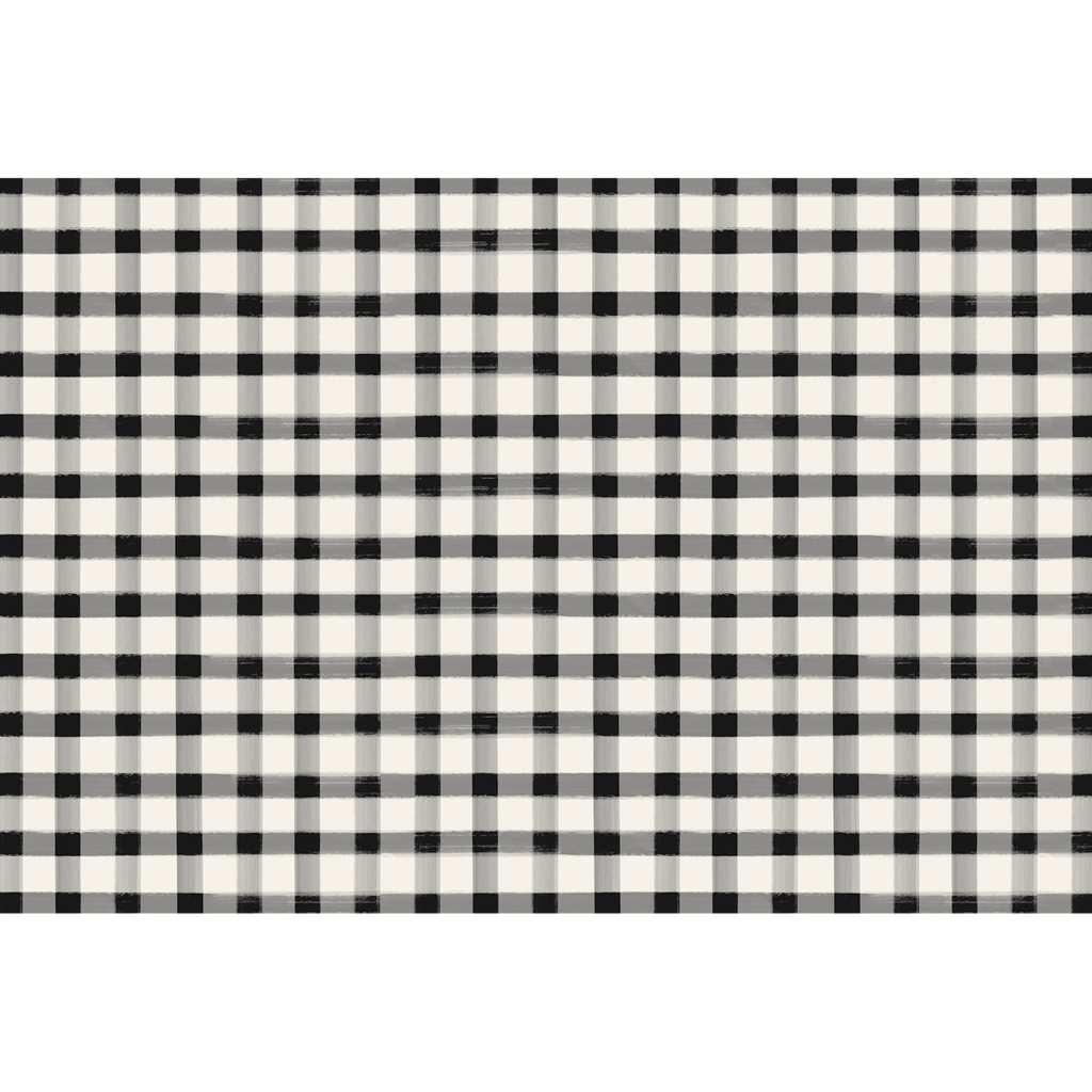 Black Painted Check Paper Placemats