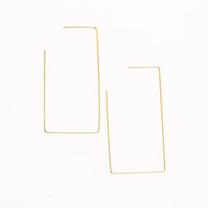 Ink + Alloy Wire Rectangle Hoop Brass Earring