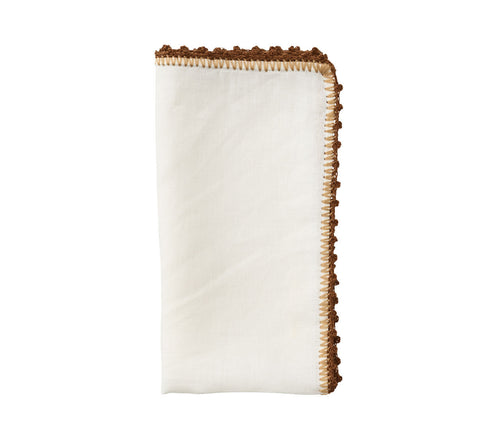 Kim Seybert Knotted Edge Napkin in White, Natural & Brown - Set of 4