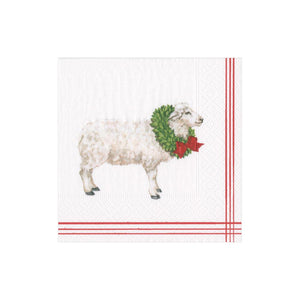 Caspari Sheep with Wreath Paper Cocktail Napkins in White - 20 Per Package