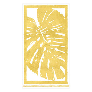 Caspari Palm Leaves Paper Guest Towel Napkins in Gold - 15 Per Package